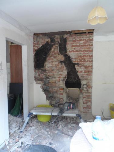 filling in the chimney gap.